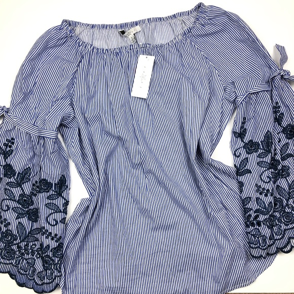 Fever Tops - Fever off shoulder top with embroidered sleeves